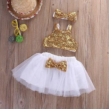 Infant Baby Girl Sequins Tank Tops+Tutu Skirts Headband Party Outfit