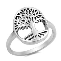 Sterling Silver Women's Ring Tree of Life 17MM