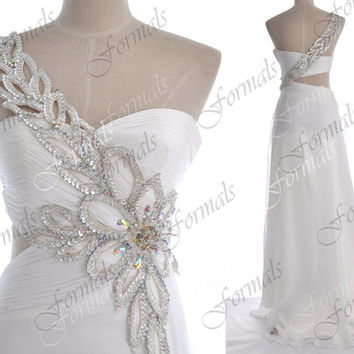 White Prom Dresses, 2014 Prom Gown, One Shoulder Long White Chiffon Prom Dresses, White Evening Gown, Long Formal Gown, White Prom Gown