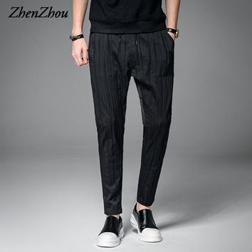 ZhenZhou M-2XL 3XL 2017 Striped Spring Casual Spring Harem Pants Men Fashion Casual Men Pants Mens Joggers Pant