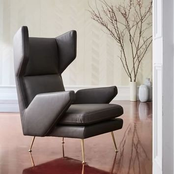 Marcelle Mid-Century Leather Wing Chair
