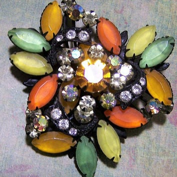 Frosted Green Orange Yellow Rhinestone Pin, Black Japanned Setting, Mid Century Glass Stone Brooch 1017