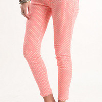 Bullhead Denim Co Coral Polka Dot Ankle Skinniest Jeans at PacSun.com