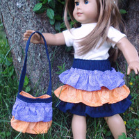 American Girl Doll Clothes, Ruffled Purse, Denim, Purple and Orange, fits 18 inch Dolls