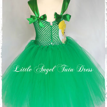 Tinkerbell Fairy Green Tutu Dress - Handmade Fancy Dress Costume - Christmas Gift - Fairy dress up Age 2 3 4 5 6 7 8 9 10 11