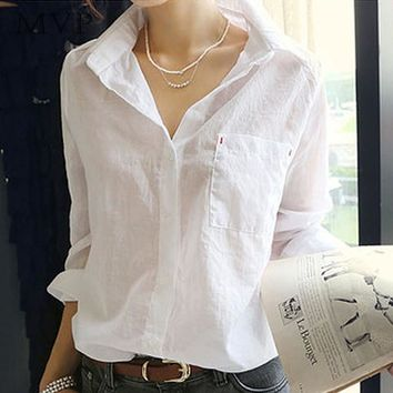 Women Turn Down Collar Long Sleeve Cotton Blouse
