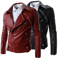 Trendy Men Biker Zip Fashion Leather Jacket SOS