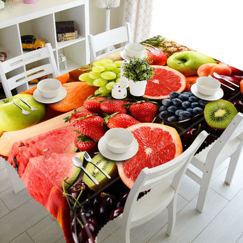 NEW 3D Tablecloths Orange Grape Fruit Printing Waterproof/oil-proof Washable Thicken Rectangle Dining Table Tea Table Cloth-T028