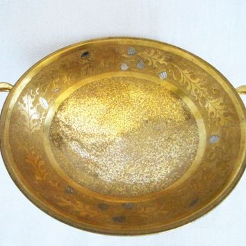 Studios Chicago Gold Overlay Porcelain Bowl Decorated Silver Acorns