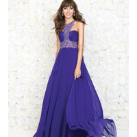 Purple Embellished Halter Chiffon Gown