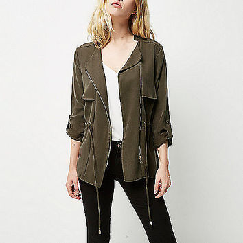 Khaki lightweight shacket