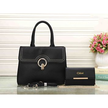 Chloe Trending Women Leather Crossbody Shoulder Bag Satchel Handbag Two Piece Black I-XS-PJ-BB