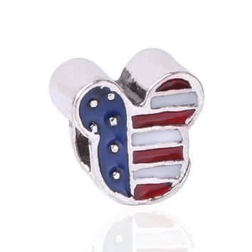 Alloy Silver Color Bead USA Flag Micky Head Charm Fit Bracelets & Bangles Necklace