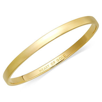 kate spade new york Bracelet, 12k Gold-Plated Heart of Gold Idiom Bangle Bracelet | macys.com