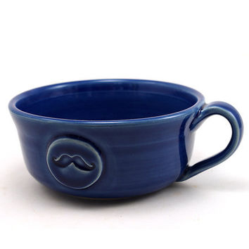 Mustache Mug: Large Blue Mug for Chili, Soup, Cafe au Lait or lots of Coffee.  Great Gift for Men by MiriHardyPottery
