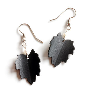 Black and white leaf dangle earrings made from bike inner tube rubber and white freshwater pearls , handmade hawthorn leaf unique jewellery