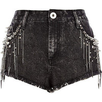 Black studded chain denim shorts