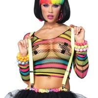 Leg Avenue Rainbow Striped Fishnet Top : Bright Colorful Fishnets from RaveReady