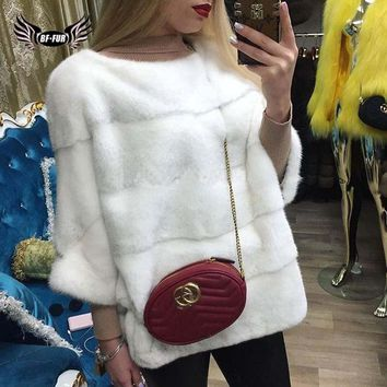BFFUR 2018 New Fur Coats From Natural Real Coat For Women For Sale Real Coats Mink Plus Size Women Winter Fashion Slim O-Neck