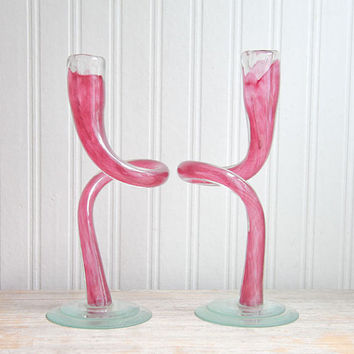Murano Glass, Candle Holder, Modern Glass, Glass Candlesticks, Swirl Pattern, Radiant Orchid, Blown Glass, Mid Century Home, Spiral Glass