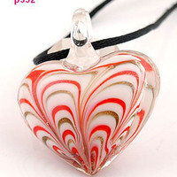 Red and White Stripe Glass Heart Pendant Necklace