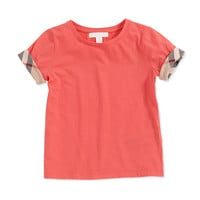 Check-Cuff Short-Sleeve Tee, Pomegranate Pink - Burberry - Pomegranate pink
