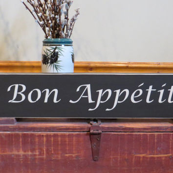 Bon Appetit hand painted wood kitchen sign. shelf sitter, great eating sign