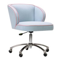 Denim with Piping Wingback Desk Chair
