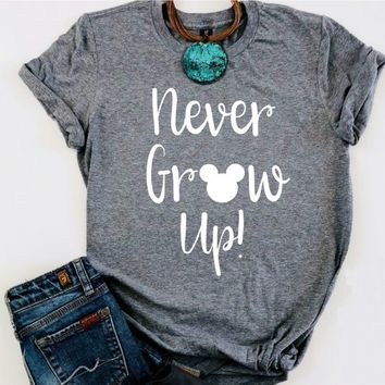 Never Grow Up // Peter Pan Shirt // Disney Shirt // Women's Disney Tee // I love Mickey // Funny Women's Disney // I love Mickey