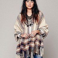 Free People  Striped Border Hooded Poncho at Free People Clothing Boutique