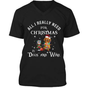 This Christmas Is Dogs And Wine Dachshund Funny  Mens Printed V-Neck T