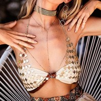 Hot Comfortable Bralette Accessory Stylish Summer Sexy Hollow Out Body Strong Character Metal Chain Bra [11006838159]