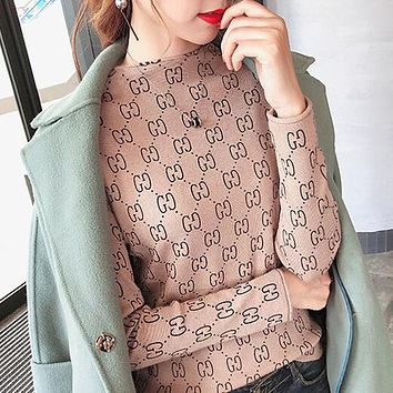 GUCCI Autumn Winter New Popular Women Double G Long Sleeve Half High Collar Knit Sweater Top Sweatshirt Apricot