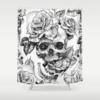 Black and White skull with roses pen drawing Shower Curtain by Sarachnid