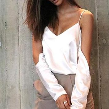 Easy Does It White Long Sleeve Satin V Neck Cut Out Shoulder Blouse Top