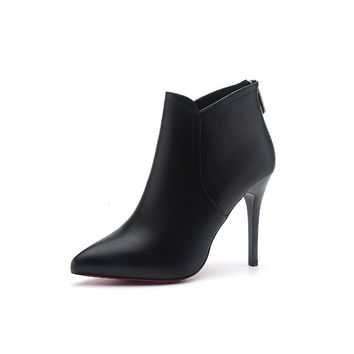Genuine Leather Ankle Boots Women's Fashion Boots Female Pointed Toe Stiletto High Heel Black Sexy Shoes L070