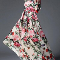 Marion Floral Printed Flare Ball Maxi Dress for Women