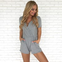 On The Go Romper in Grey