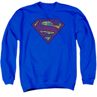SUPERMAN/TATTERED SHIELD - ADULT CREWNECK SWEATSHIRT - ROYAL BLUE -