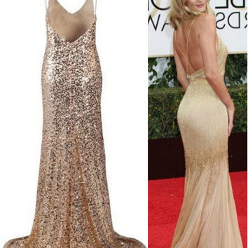 Backless Sequinned Gold Gown