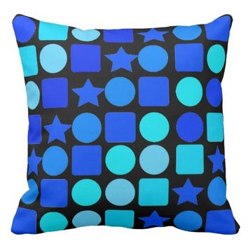 Stars, Circles 'n' Squares on Throw Pillow
