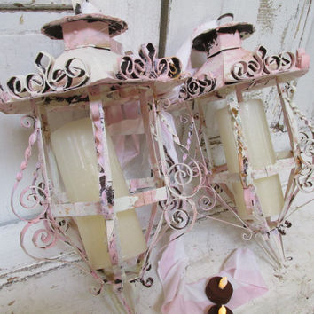 Distressed lanterns large recycled lighting scroll work shabby cottage chic painted pink cream heavily weathered home decor anita spero