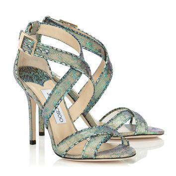 Aloe Mix Holographic Lace and Metallic Elaphe Sandals | Lottie | Spring Summer 15 | JIMMY CHOO Shoes