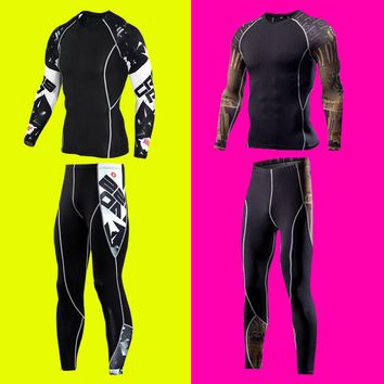 1set=tops + pants / Europe's compression Men's quick-drying breathable Long Johns Underwear