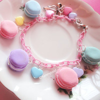 Cute Pastel Macaron Charms and Stars Bracelet with by yummyland