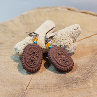 Cookie earrings Chocolate cookies earrings Mini food earrings Mini biscuit earring Kawaii earrings Kawaii jewelry Charm girlfriend gift