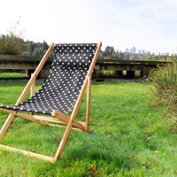 SALE outdoor deck chair with matching pillow in Black and White spots