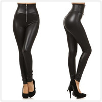 New Sexy Black High-Waist Elastic Faux Leather Women's Skinny Leggings With Zipper Free Size = 1931746372
