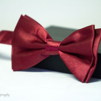 Cranberry Red Fancy Formal Dress Bow Tie