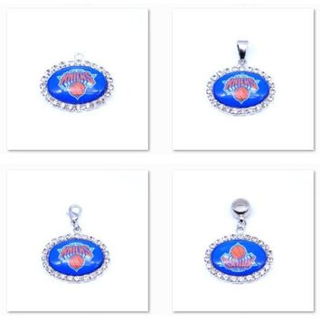 Pendant Charms Rhinestone New York Knicks Charms Basketball Sports Dangle Charms for Women Men Diy Jewelry Fashion 2018